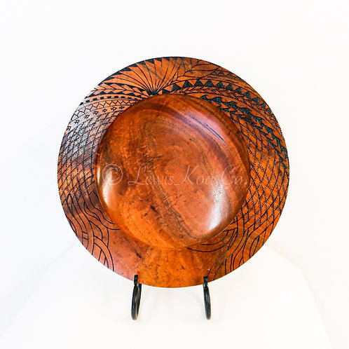 "16"" Koa Platter with Tribal Pyrography"