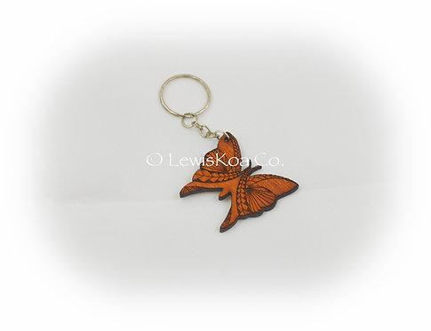 Koa Butterfly Keychain