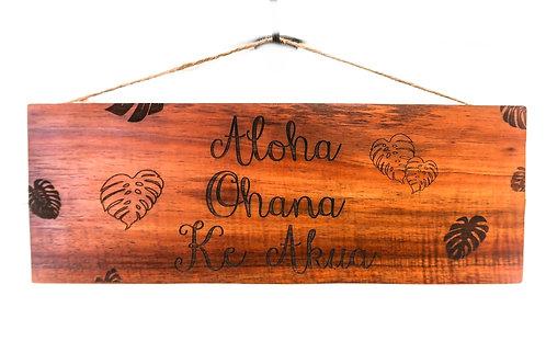 Aloha, Ohana, Ke Akua Wall Sign