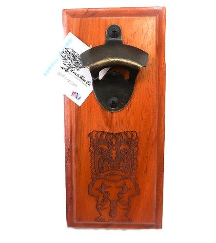 Koa Wall Bottle Opener, Tiki
