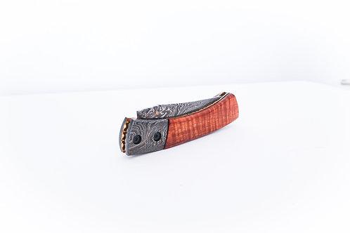 Curly Koa + Damascus Folding Pocket Knife