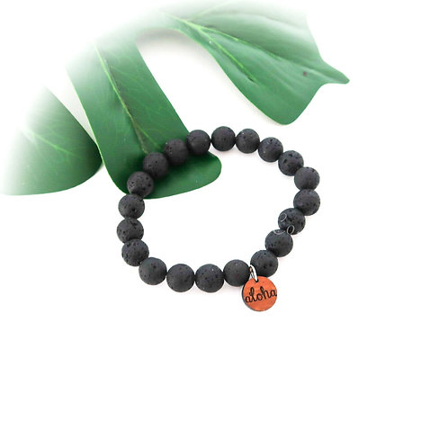 Lava Bead Stretch Bracelet with Koa charm (LBB10M)