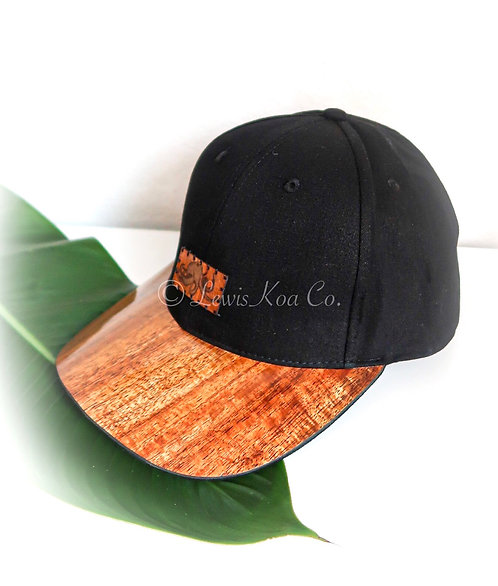 Koa Curved Bill Cap, Black with He'e Koa patch