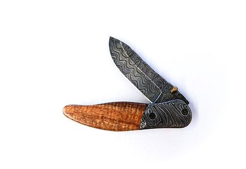 Curly Koa + Damascus Folding Pocket Knife (1204)
