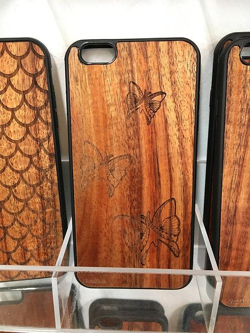 Koa Iphone Case, Tribal Butterflies