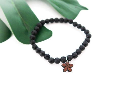 Lava Bead Stretch Bracelet with Koa charm (LBB6M)