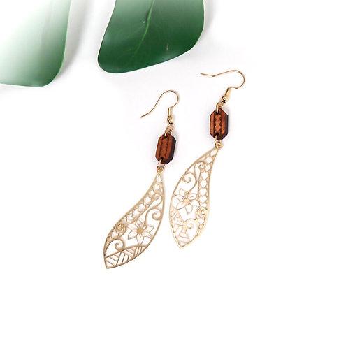 Tribal Leaf with Koa Earrings