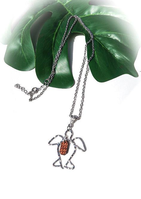 Honu with Koa Tribal Wave Charm Long Necklace