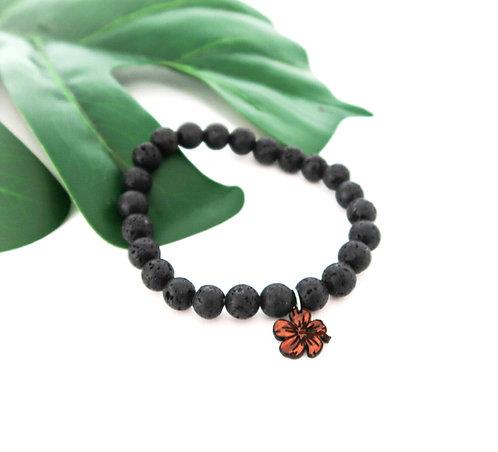 Lava Bead Stretch Bracelet with Koa charm (LBB8M)