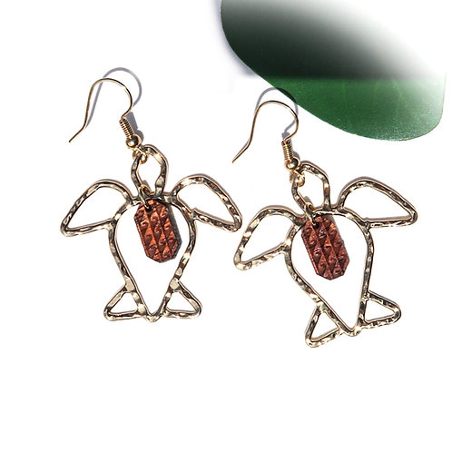 Honu with Koa Tribal Wave Charm Earrings