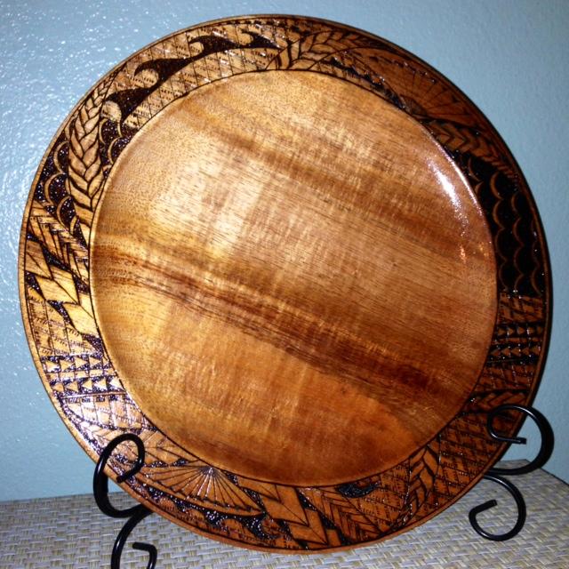 Large Koa tribal platter