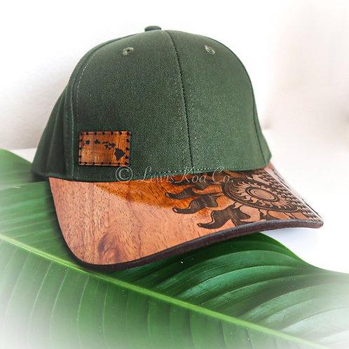 Koa Curved Bill Cap, Green with Tribal Sun