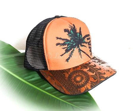 Koa Curved Bill Cap, Orange Hawaii Sun