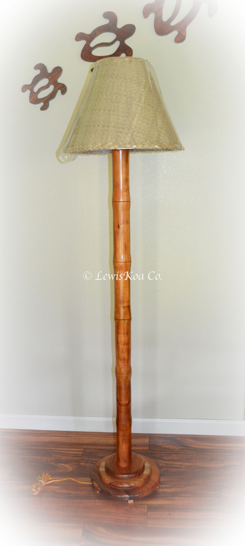 Curly Koa Bamboo Floor Lamp | LewisKoa Co. | Hawaiian Koa ...
