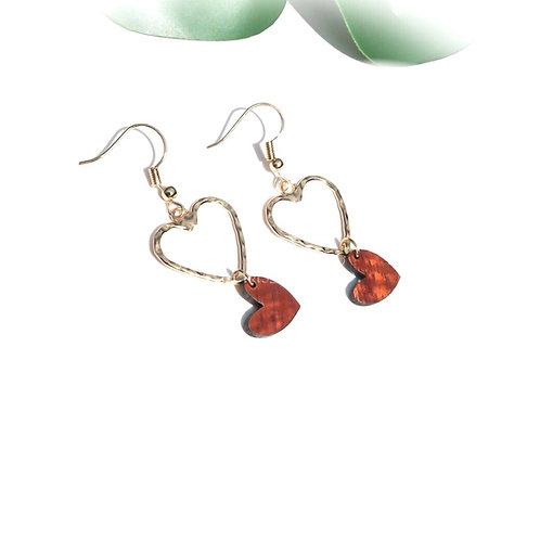 Heart with Koa Heart Charm Earrings