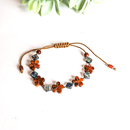 Koa Plumeria & Abalone Diamond Bracelet