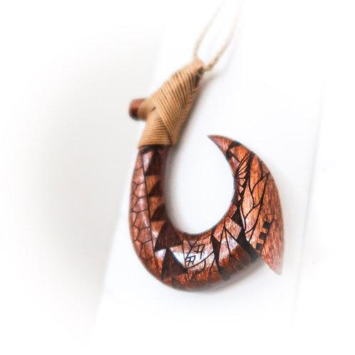Koa Fish Hook Pendant with tribal engraving XL