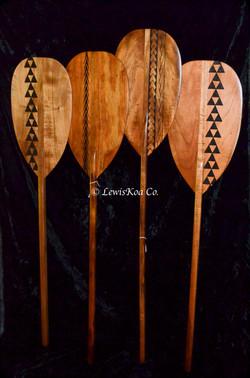 Hawaiian Koa pyrography Paddle set