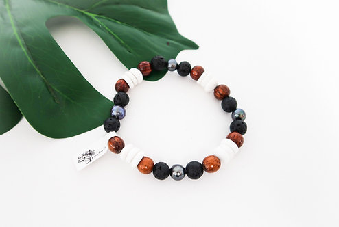 Koa, Pearl, Puka Shell and Lava Bead Stretch Bracelet (KPPLB)