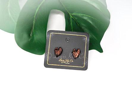 Koa Anthurium Stud Earrings