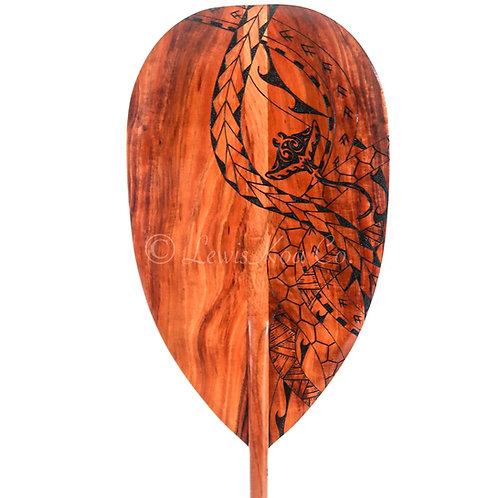 Koa paddle with Tribal Manta Ray Pyrography art (KPPY20)