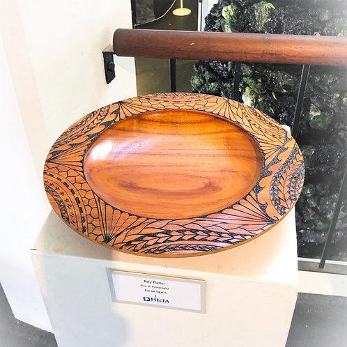 Koa Platter with Tribal Pyrography (1119)