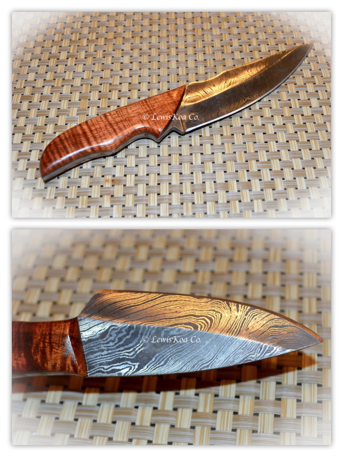Koa Damascus knife