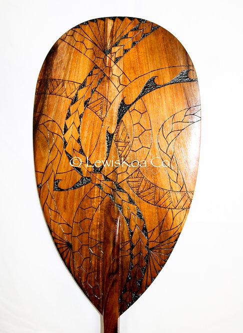 Koa Paddle w/ Tribal Pyrography (KPPY100)
