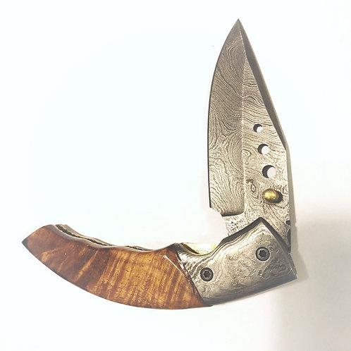 Koa and Damascus Folding Knife