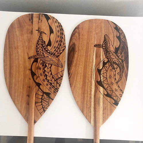 Koa Paddle w/ Whale Tribal Pyrography (KPPY350)
