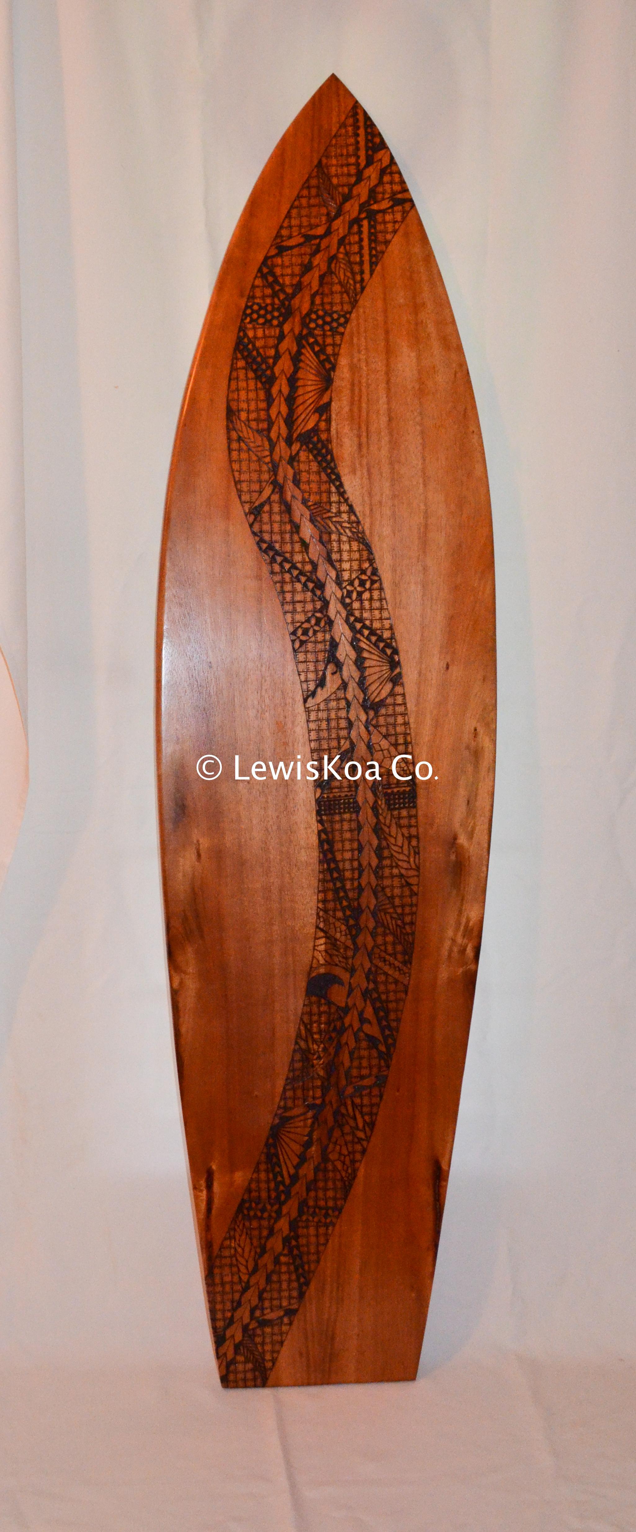 Koa pyrography wall art surf board