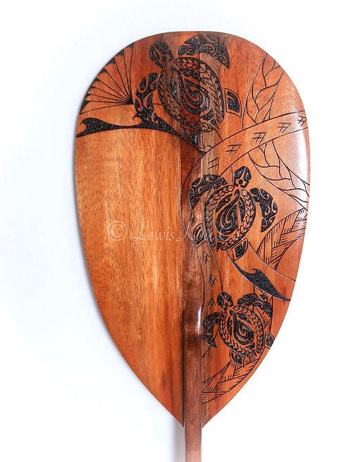 Koa paddle with Tribal Honu Pyrography art (KPPY99)
