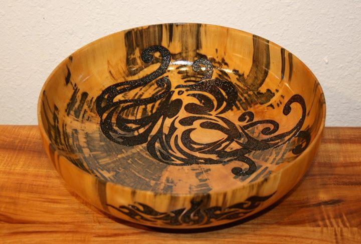 tako pyrography wooden bowl