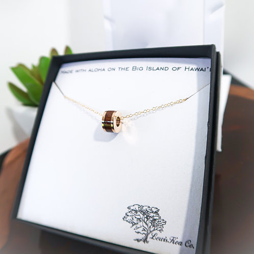 Koa Barrel Charm Pendant Necklace (KBN1)