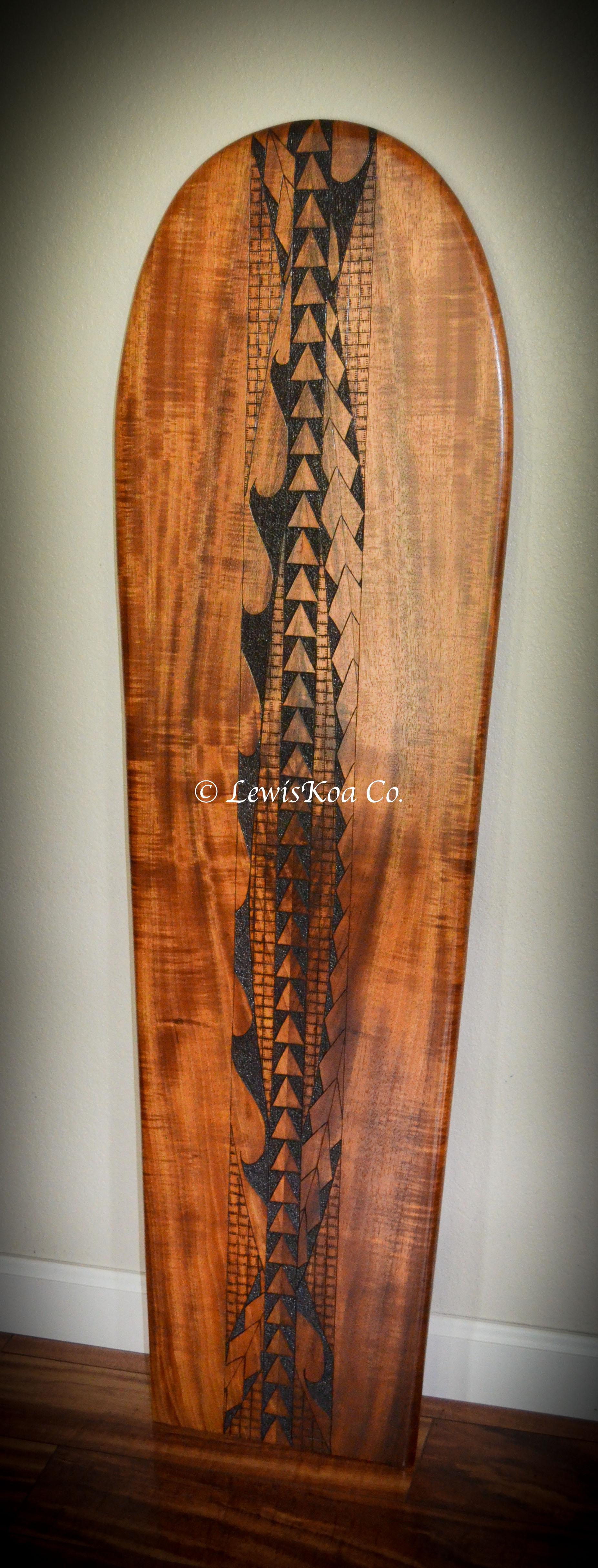 Surfboard Koa pyrography