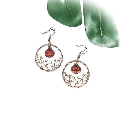 Coral with Koa Seashell Charm Earrings