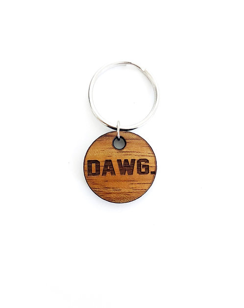 """DAWG."" Circle Koa Collar Charm"