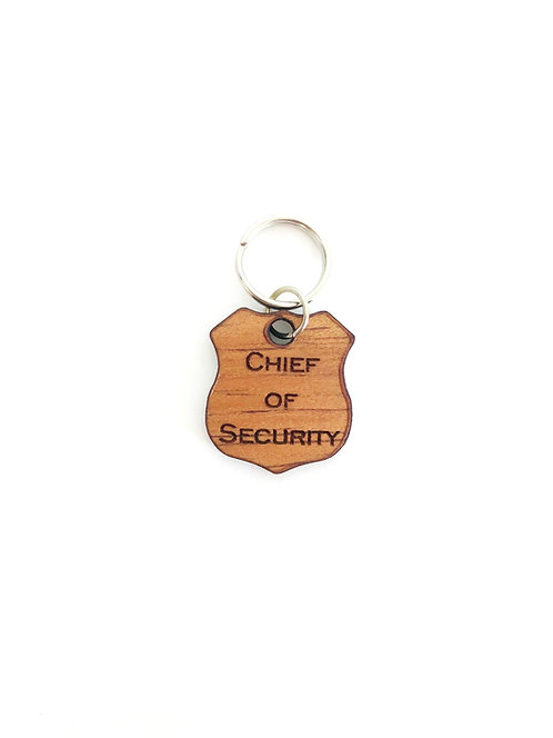 """Chief of Security"" Koa Collar Charm"