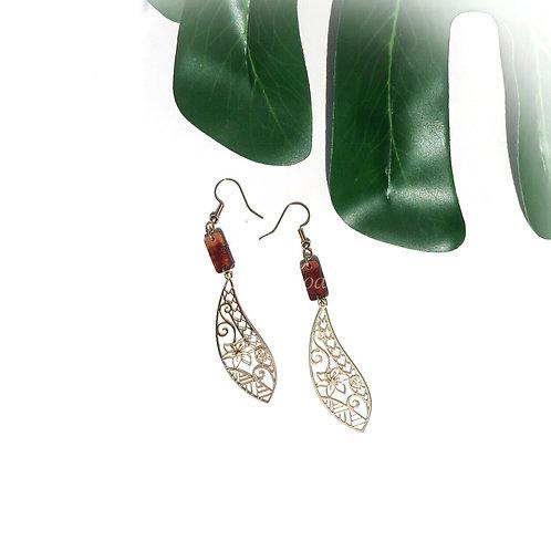 Tribal Leaf with Koa Charm Earrings