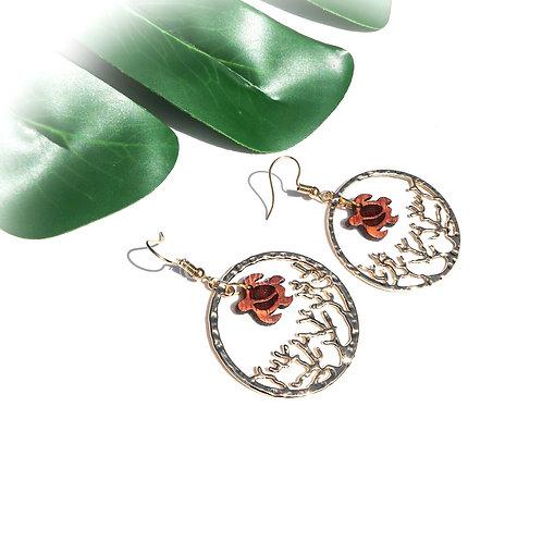 Coral with Koa Honu Charm Earrings