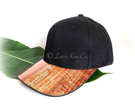 Koa Curved Bill Cap, Black with side Monkeypod Tree Koa patch