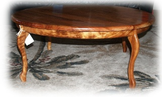 Round Koa coffee table