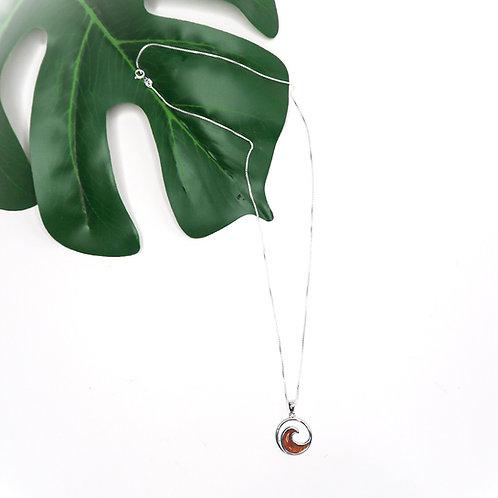 Sterling Silver + Koa Wave Necklace