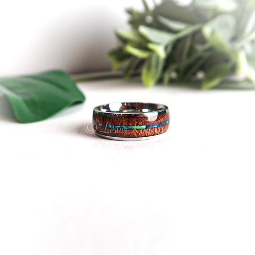 Koa with paua Shell Inlay Ring, (KR032)