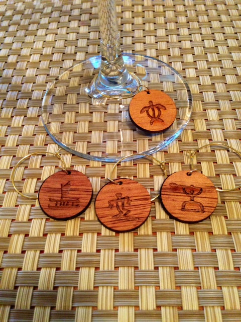 Koa Wine Glass Charms