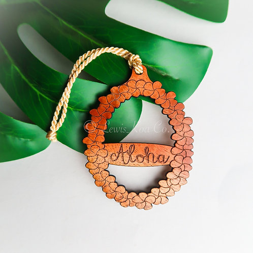 Koa Aloha Lei Ornament
