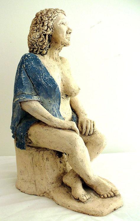 femme au foulard bleu
