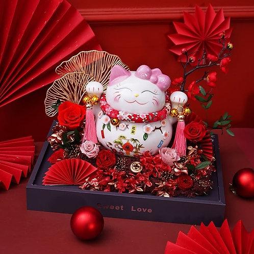 Plutus Cat Preserved Flower Box