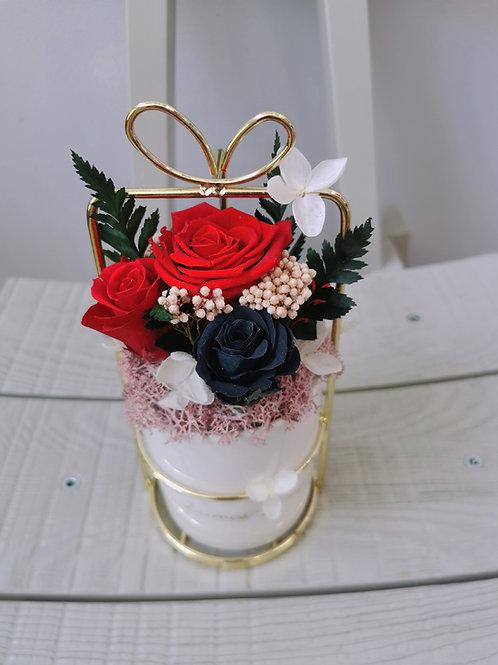 Preserved Flower Metal Pot