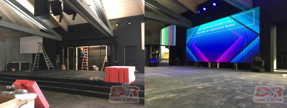 P3 indoor LED video wall in church